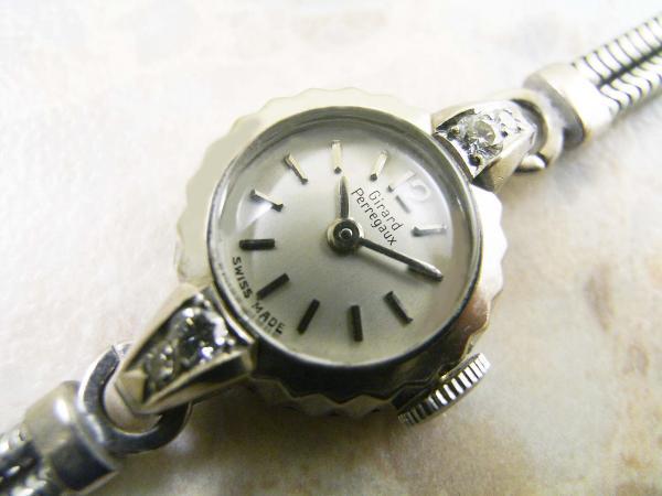 ジラール・ペルゴ レディースサイズ アンティーク  宝飾時計 18Kホワイトゴールド無垢ケース