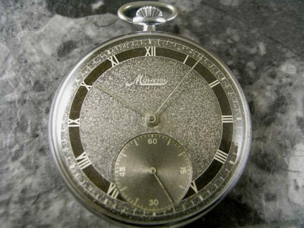 ミネルバ 懐中時計 2トーンダイアル ローマンインデックス スモールセコンド