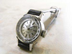 オメガ シルバーダイアル プリズム風防 レディースアンティーク腕時計:画像1