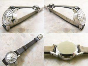 オメガ シルバーダイアル プリズム風防 レディースアンティーク腕時計:画像2