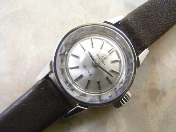 オメガ シルバーダイアル プリズム風防 レディースアンティーク腕時計