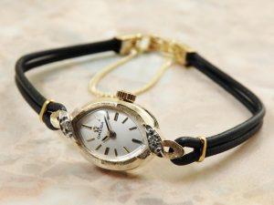 オメガ OMEGA 14KYG イエローゴールド ダイヤ レディース 時計 アンティーク:画像1