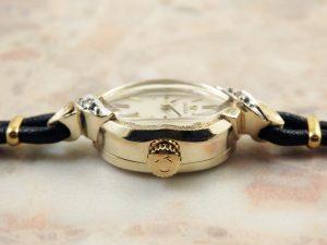 オメガ OMEGA 14KYG イエローゴールド ダイヤ レディース 時計 アンティーク:画像2