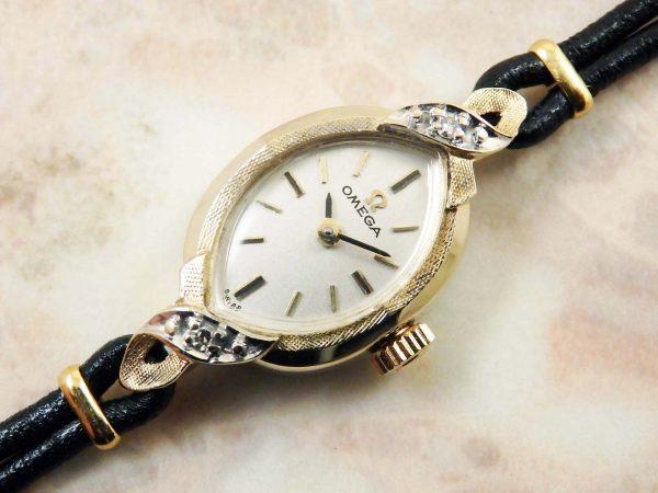 オメガ OMEGA 14KYG イエローゴールド ダイヤ レディース 時計 アンティーク