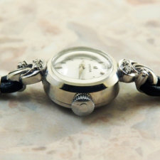 OMEGA オメガ・14KWG/14金ホワイトゴールド無垢 6Pダイヤ レディース 腕時計:画像2