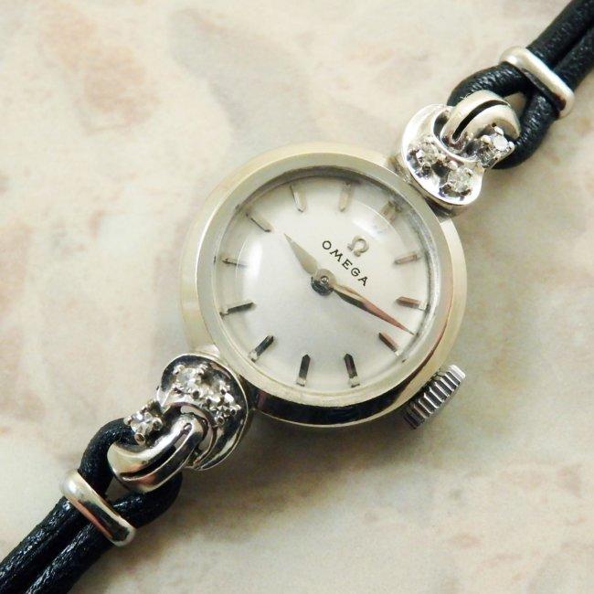 OMEGA オメガ・14KWG/14金ホワイトゴールド無垢 6Pダイヤ レディース 腕時計
