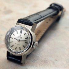 オメガ 金無垢 14KWG/ホワイトゴールド レディースウォッチ プリズム風防 自動巻き式時計:画像1