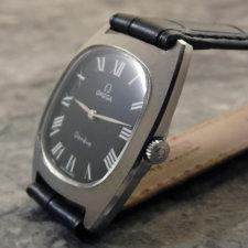 オメガ アンティーク腕時計 黒文字盤 放射ローマン リーフハンド:画像2