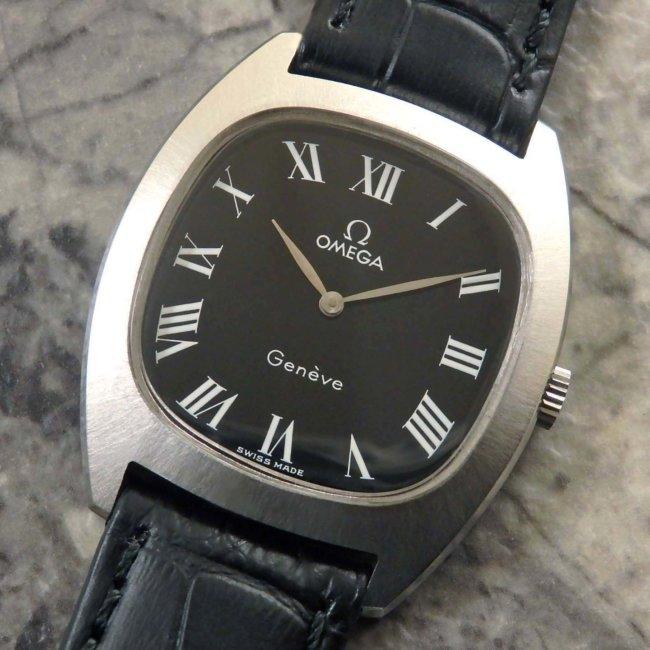 オメガ アンティーク腕時計 黒文字盤 放射ローマン リーフハンド