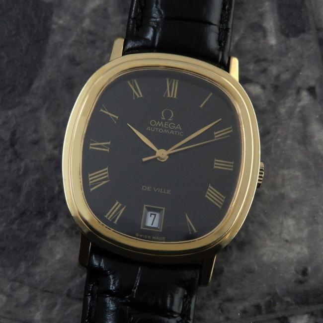 OMEGA アンティークウォッチ 1970s 希少 ブラックダイヤル メンズ 6時デイト