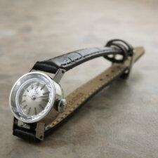 オメガ レディース アンティーク 時計 カットガラス プラチナ Platinum:画像1