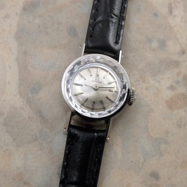 オメガ レディース アンティーク 時計 カットガラス プラチナ Platinum