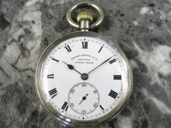 ゼニス ファーブル・ルーバ 銀無垢 瀬戸引きローマンダイアル バイメタル切りチラネジテンプ 懐中時計